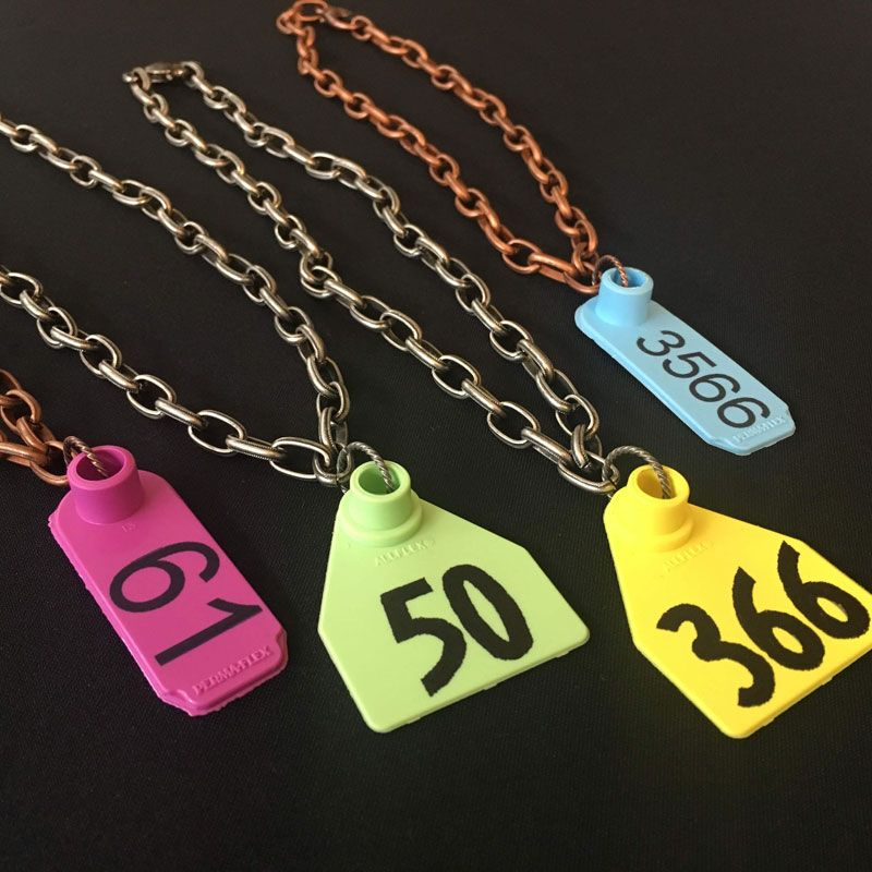 Animal Ear Tag Number Necklace Ear tag, Ear, Number necklace