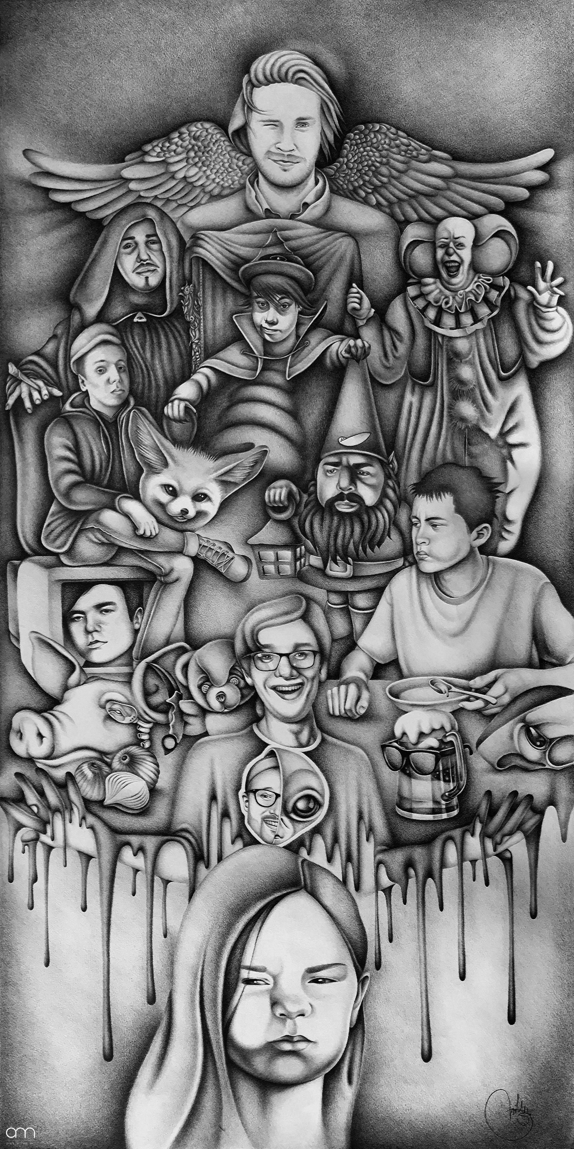 Metaphors - Youtubers Pencil on paper 50 x 100 cm 100 hours