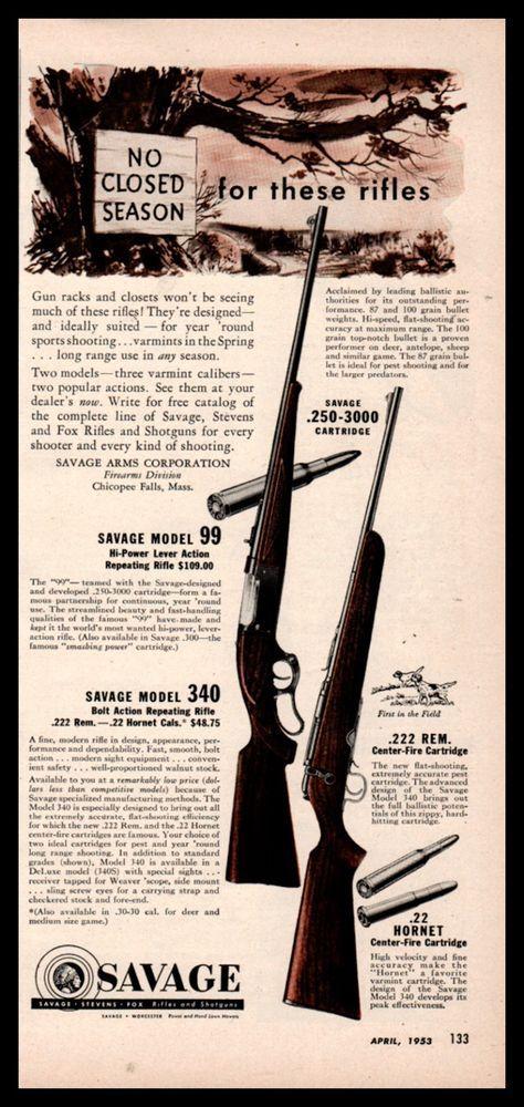Details about 1953 Savage Rifle Gun Ad Model 99 & Model 340