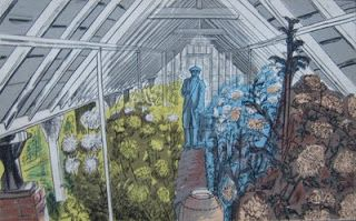 """Edward Bawden: """"The Market Gardener"""" illustration from 'Life in an English Village', published in 1949 by King Penguin. The drawings are of Bawden's own adopted village, Great Bardfield in Essex."""