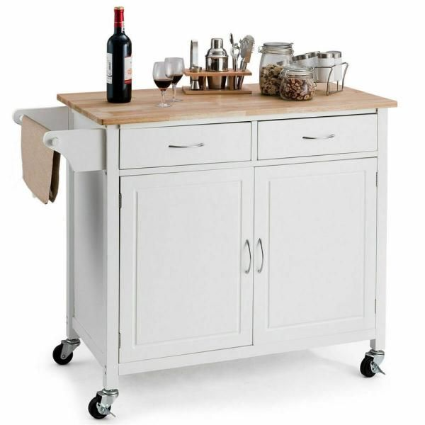 Costway Modern White Kitchen Cart With Natural Wood Top Hw59426wh