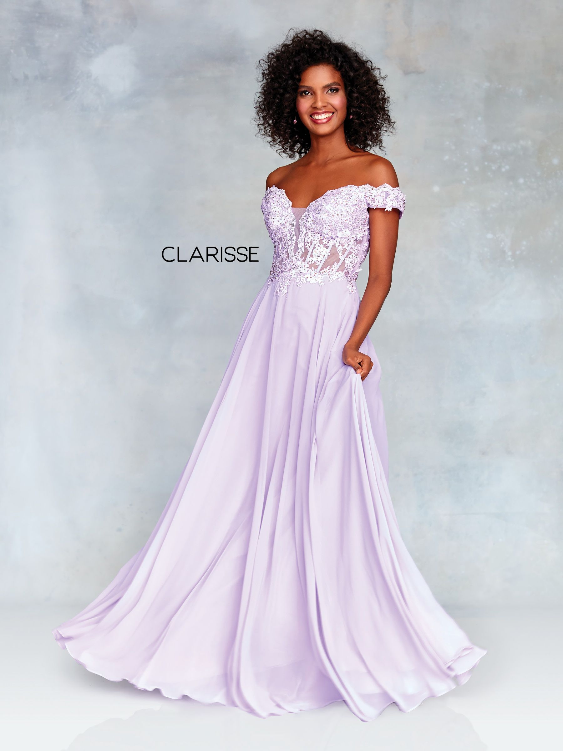 d5ef140ed0a 3774 - Lilac off the shoulder chiffon dress with a lace top and corset back