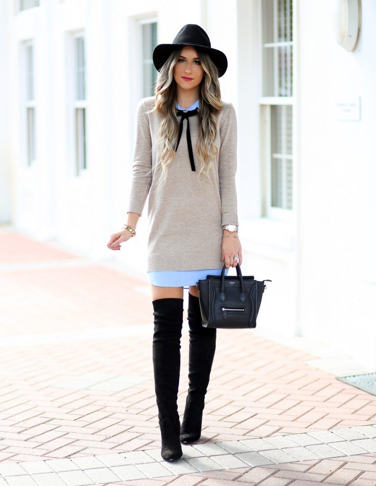 Sweater Dress Over The Knee Boots Styled Adventures Over The