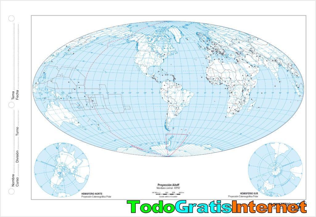 Mapa Geografico Del Mundo.Mapas Escolares Del Mundo Y De Argentina Gratis Mapa