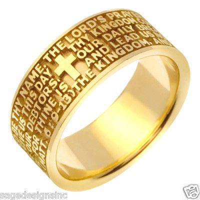 14K Gold Religious Cross Bible Verse Wedding Band Ring Religious