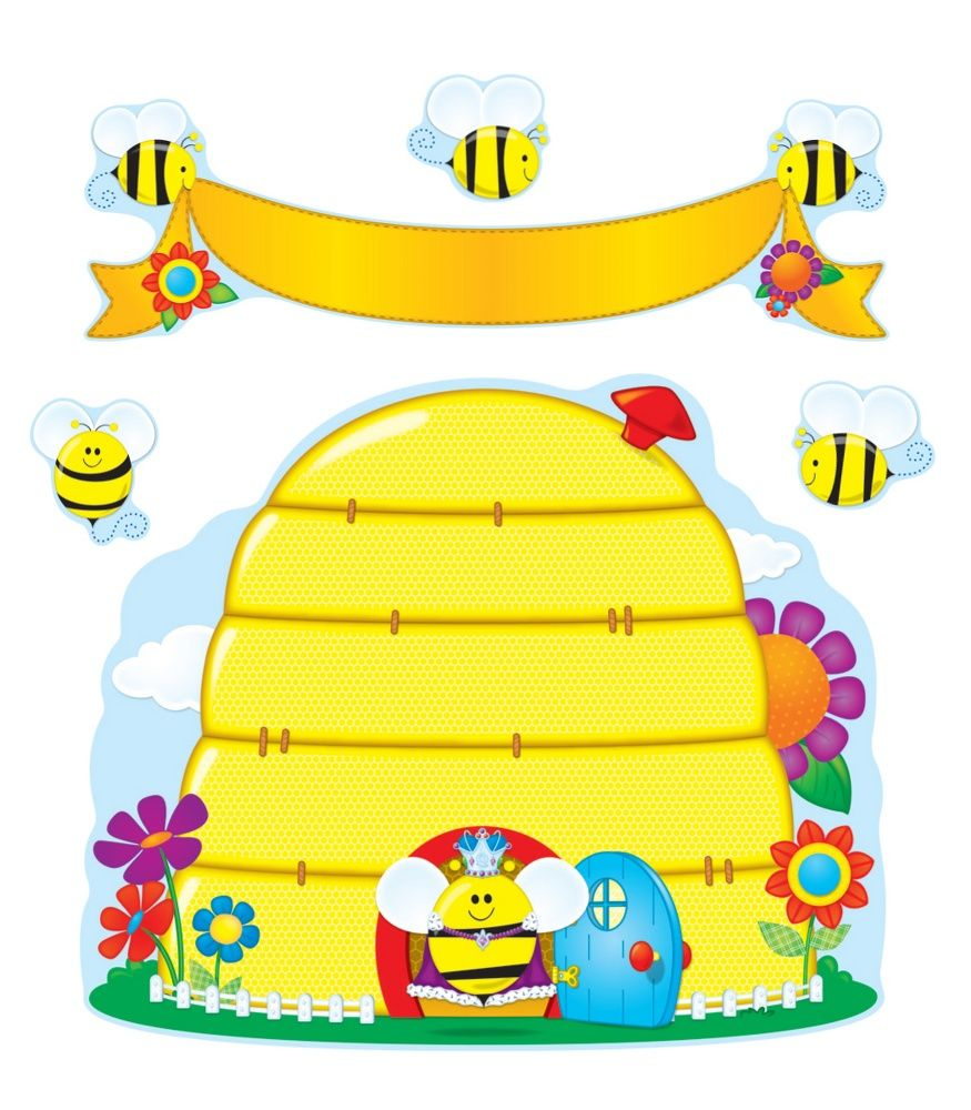 Carson Dellosa Busy Bees Bulletin Board Set This Adorable Bee Themed Includes A Beehive X 1 Large And Small Flower 39 Blank