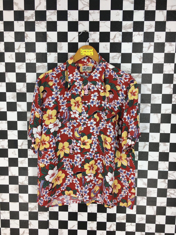 ebf5b8695 Vintage HAWAIIAN Aloha Shirt Medium Floral Hibiscus Shirt Flower Multicolor  Tropical Tree Surfing Rayon Buttondown Tiki