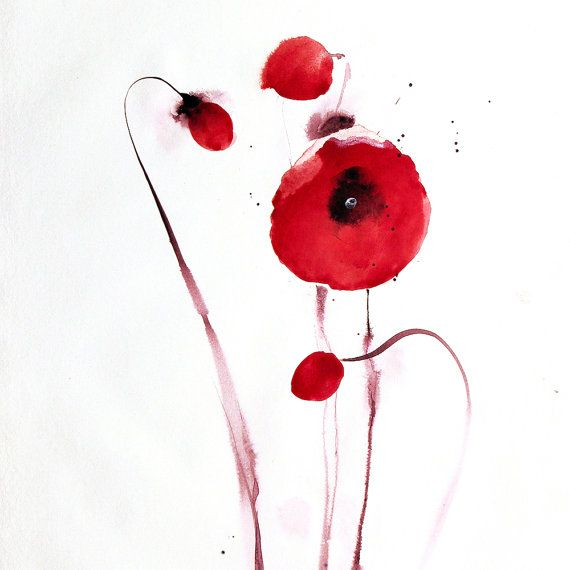 Watercolor Red Poppy