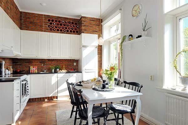 Weinregale küche eingebaut backsteinwand weiße schränke | Giteideen ...