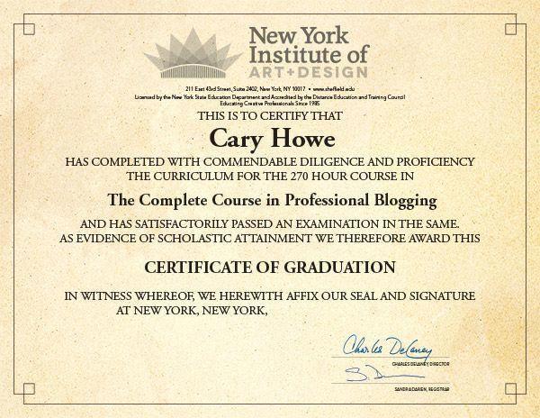 new york institute of art design online course in blogging