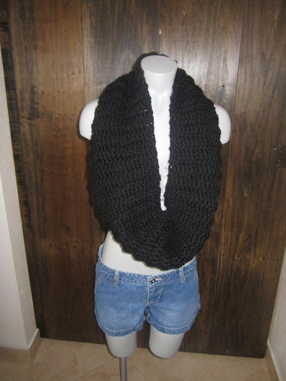 Black Infinity Scarf by Crochetawayyy on Etsy