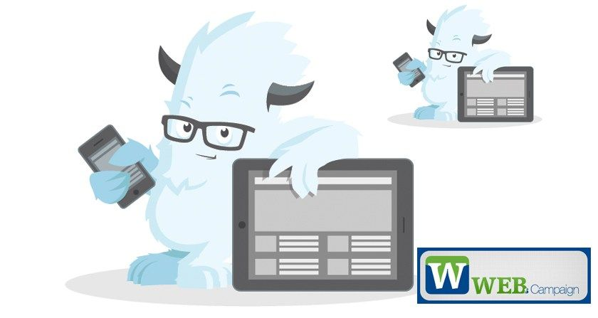 Free Vector Web Monster With Mobile And Tablet Template Monster