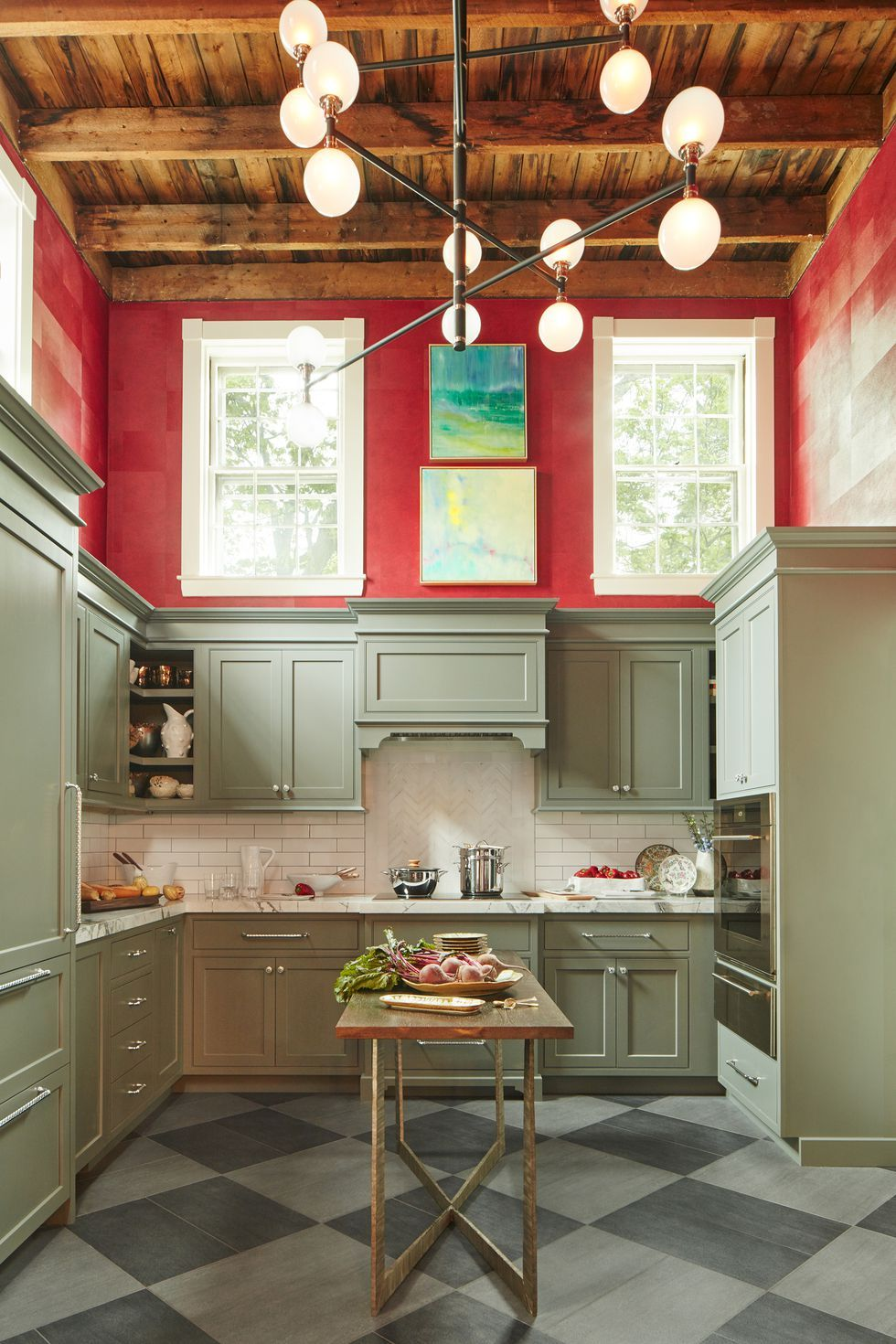 Color clashed kitchen with beautiful wood beamed ceilings