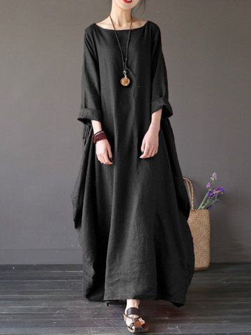 1b32832be7 Fitted Vintage Women Solid 3 4 Sleeve Loose Maxi Dress For Women