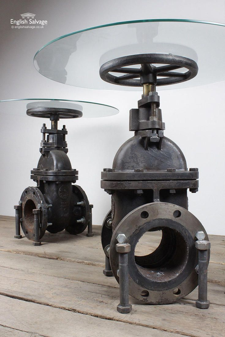 Repurposed Valve and Glass Topped Tables