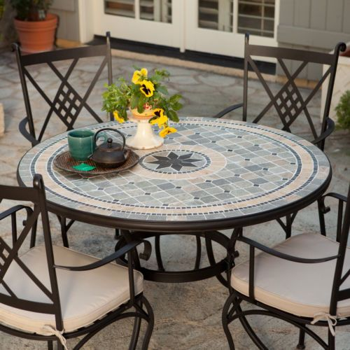 belham living barcelona 48 in round wrought iron mosaic patio dining rh pinterest com