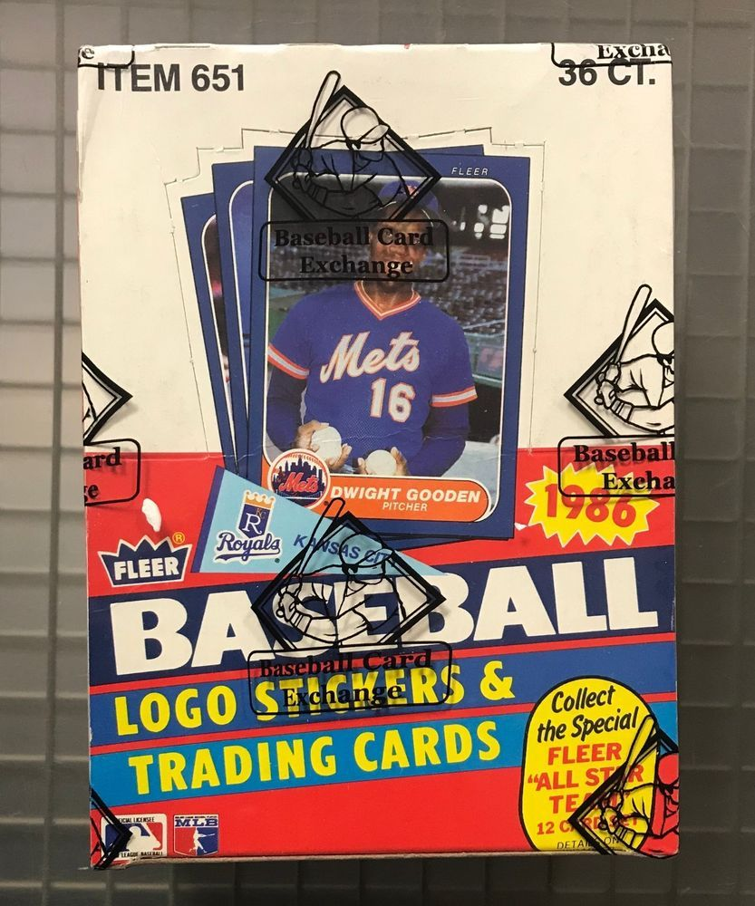 1986 fleer baseball unopened sealed wax pack box w 36