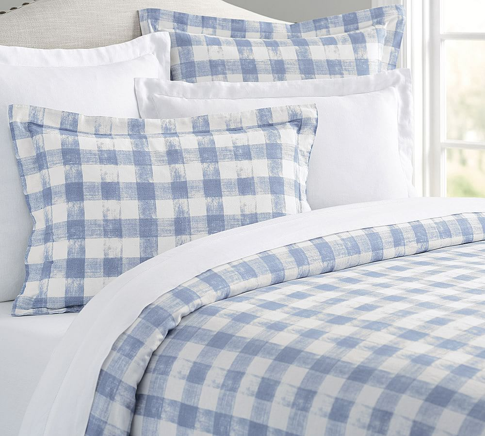 Pottery Barn Gingham Check Sheet Set Navy Blue Queen Cottage Chic Farmhouse