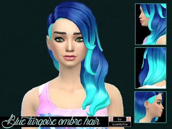 The Sims Resource Blue Turqoise Ombre Hair By Izzie Mc Fire Sims