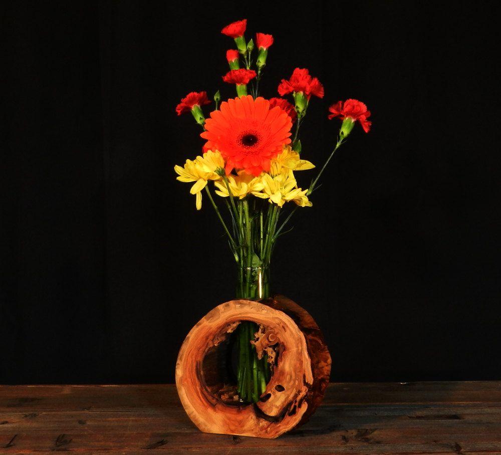 Rustic Hollow Log Vase Aspen Wood Home