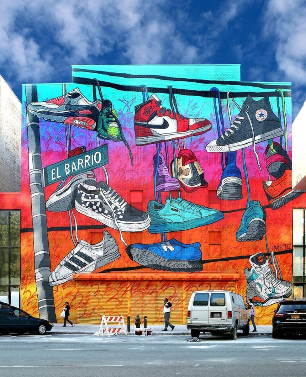 Powwowdc Newly Completed Mural In East Harlem Newyork By Powwowdc 2017 Alum Madsteez For Kicks Usa Near Street Art Street Graffiti Graffiti Wall Art
