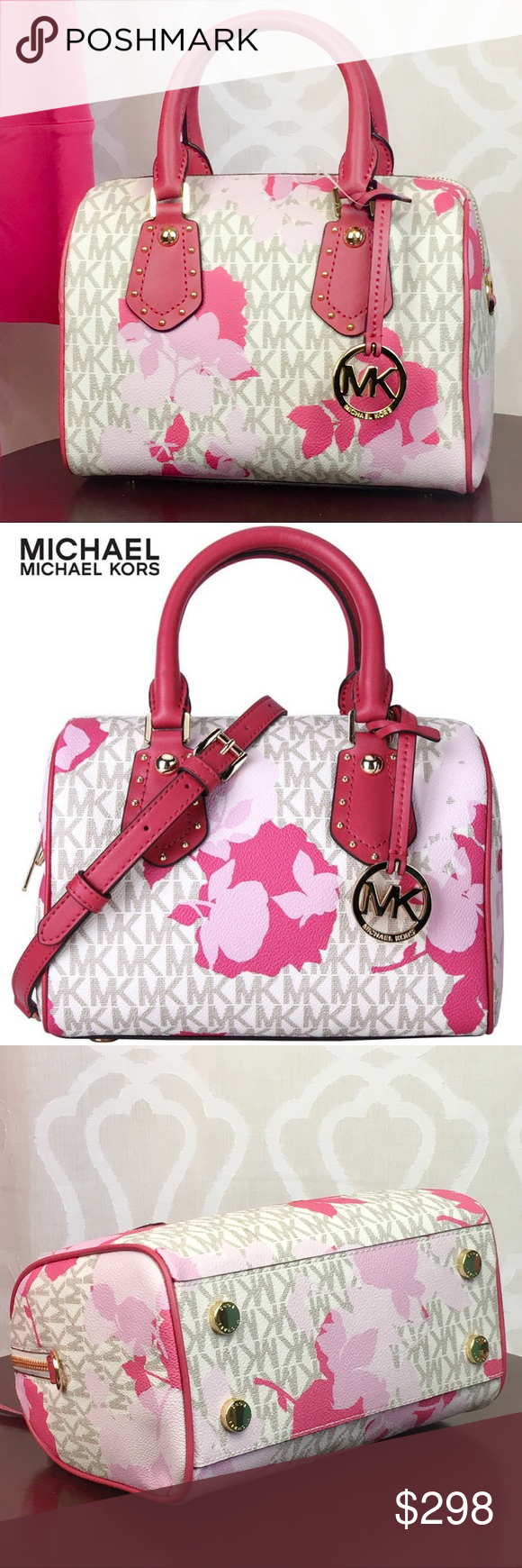 41c6c7fcb37a Michael Kors Pink Floral Aria Satchel Michael Kors does Cute right! The Aria  Small Satchel in