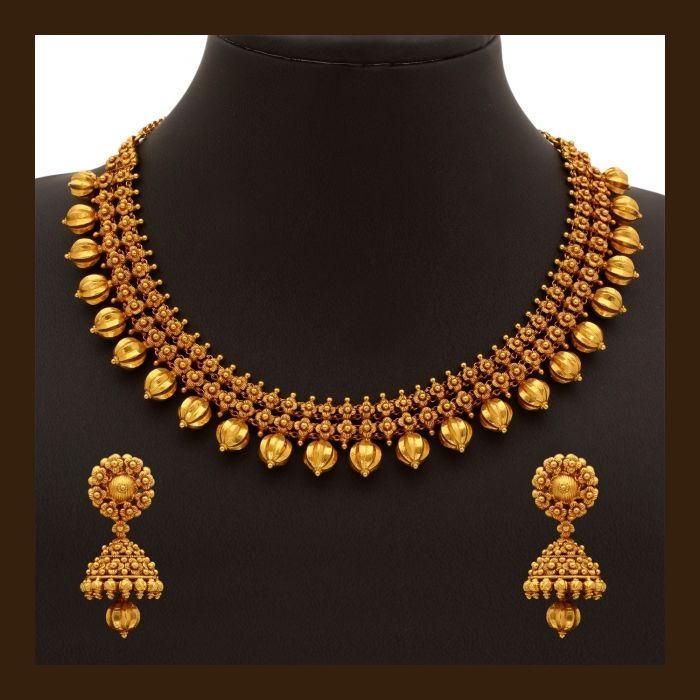 Top 25 Indian Antique Jewellery Designs For Women: Gold Necklace Set (110A19500-108A52329)