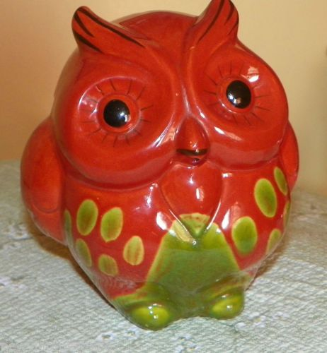 MID-CENTURY-Modern-Ceramic-Glazed-Pottery-OWL-BANK-Burnt-Orange-Avocado-Green