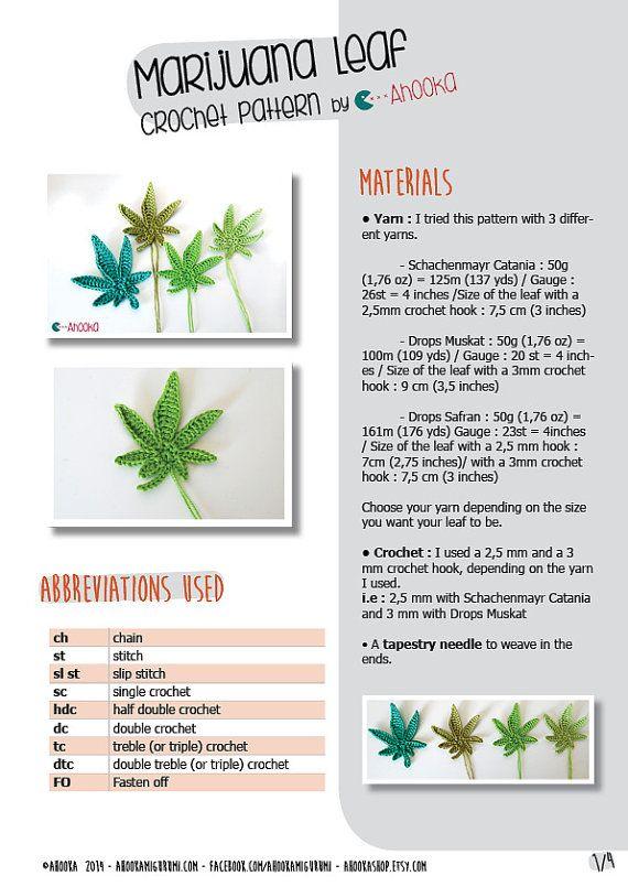 PDF PATTERN : Marijuana leaf crochet pattern - crochet pot leaf ...