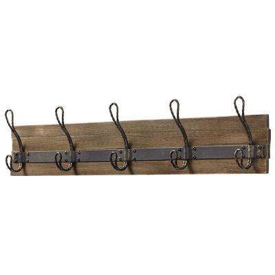 27 in. Pine and Antique Brass Rustic Hook Rack