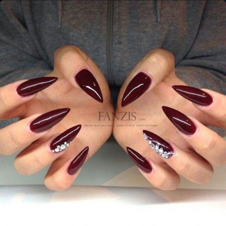 Dark Red Wine Red Stiletto Acrylic Nails W Rhinestones Rhinestone Nails Red Stiletto Nails Red Nails