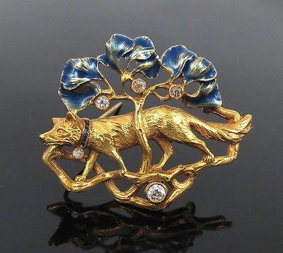 Antique European Old Cut Diamond Sapphire & Enamel 18K Gold German Sheppard Pin