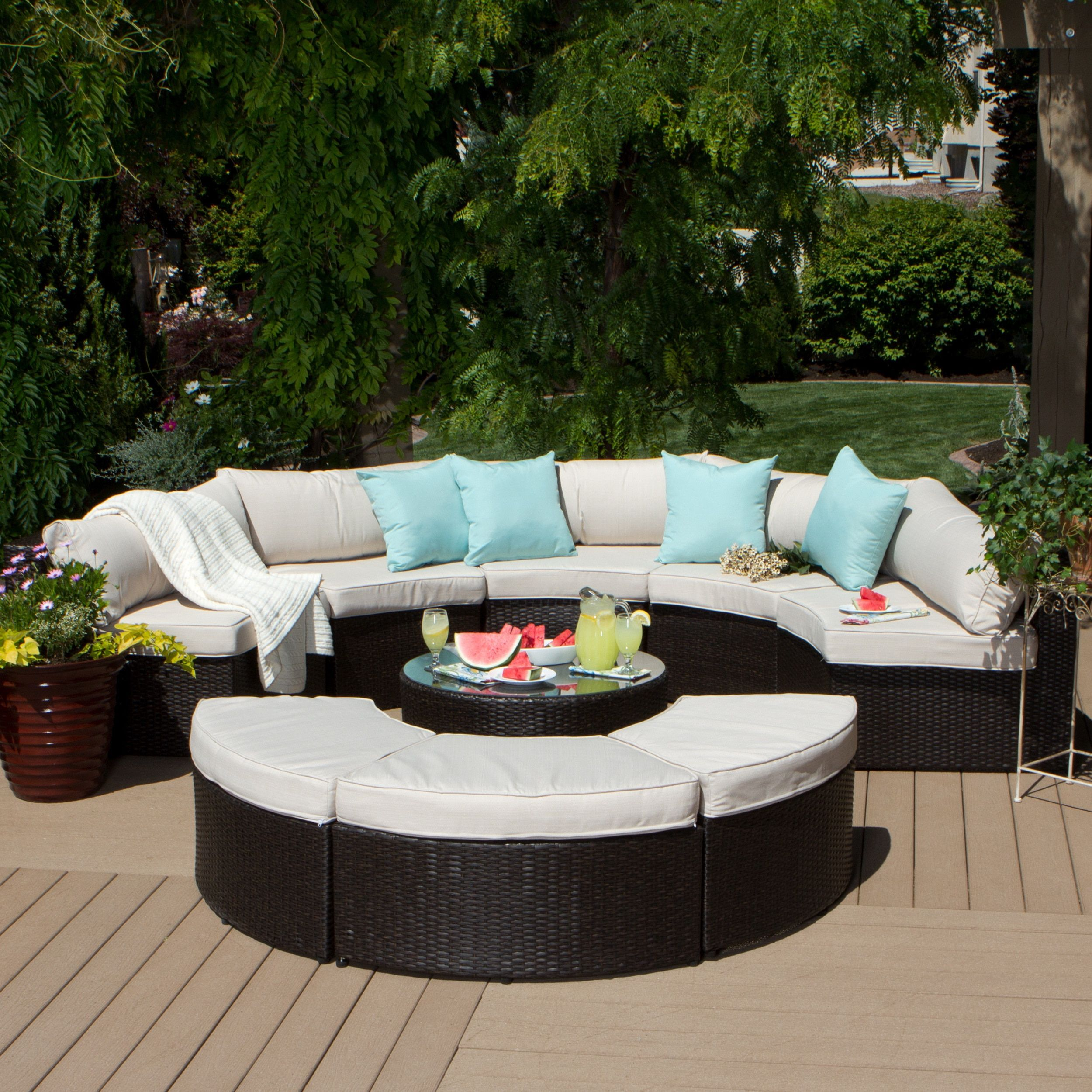 Isla 9 Piece Outdoor Sectional Beige Size Sets Patio Furniture Aluminum