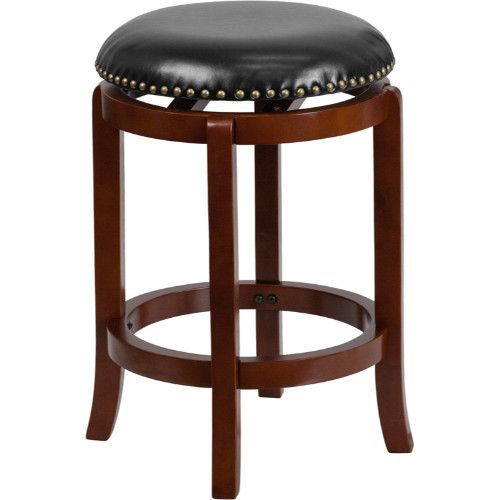 24 Backless Lt Cherry Wood Counter Height Bar Stool W Leather