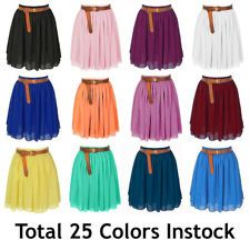 Women Lady Chiffon Pleated Mini Skirts Retro High Waist Double Layer | 25 Colors