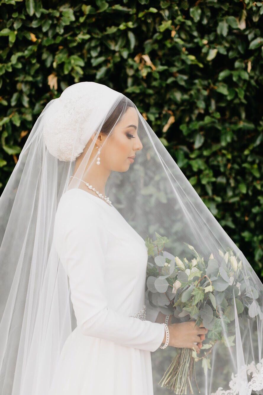 Bridal Turban And Veil Bride Veil Hijabi Wedding Bridal Hijab