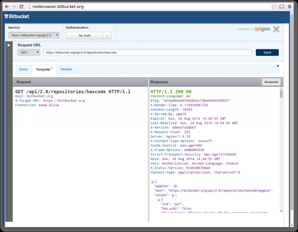 Bitbucket REST API Browser | Java | Java, Web application
