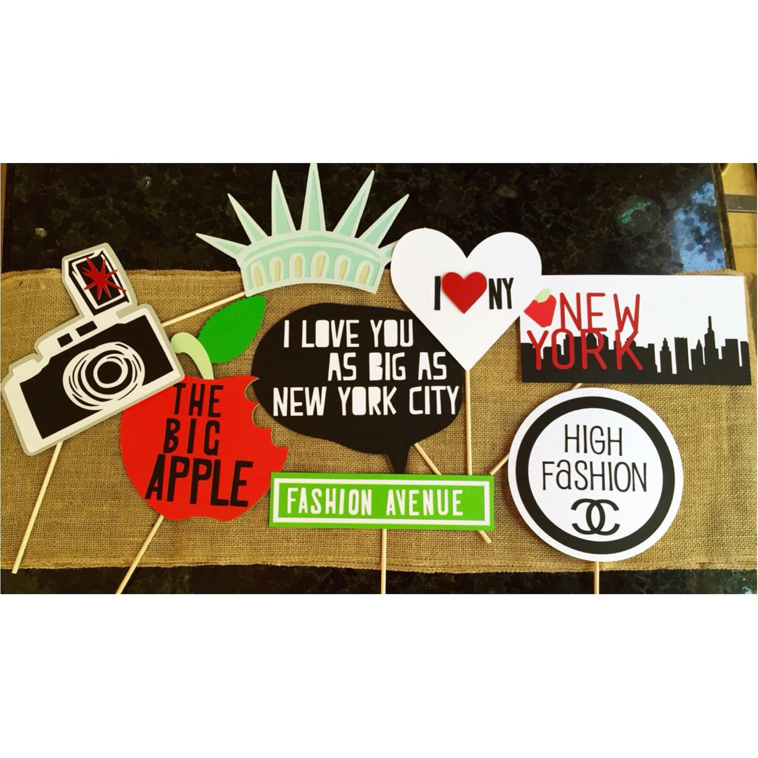 New York themed photo booth props by SunshineWithJess on Etsy https://www.etsy.com/listing/243499253/new-york-themed-photo-booth-props