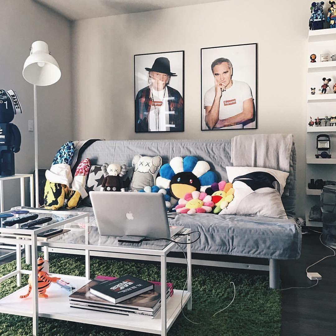 Hypebeast Takashi Murakami Kaws Supreme Living Room Decor Hypebeast Room Sneakerhead Room Room Ideas Bedroom