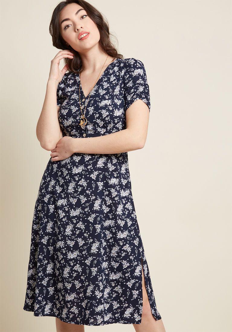 Louche Teatime Toast Midi Shirt Dress In Navy Floral In 12 Uk Midi Shirt Dress Dresses Long Sleeve Shirt Dress