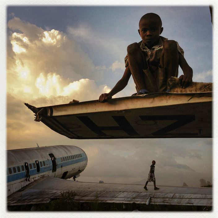 CONGO. Goma. December 14, 2012. Abandoned Planes Are A
