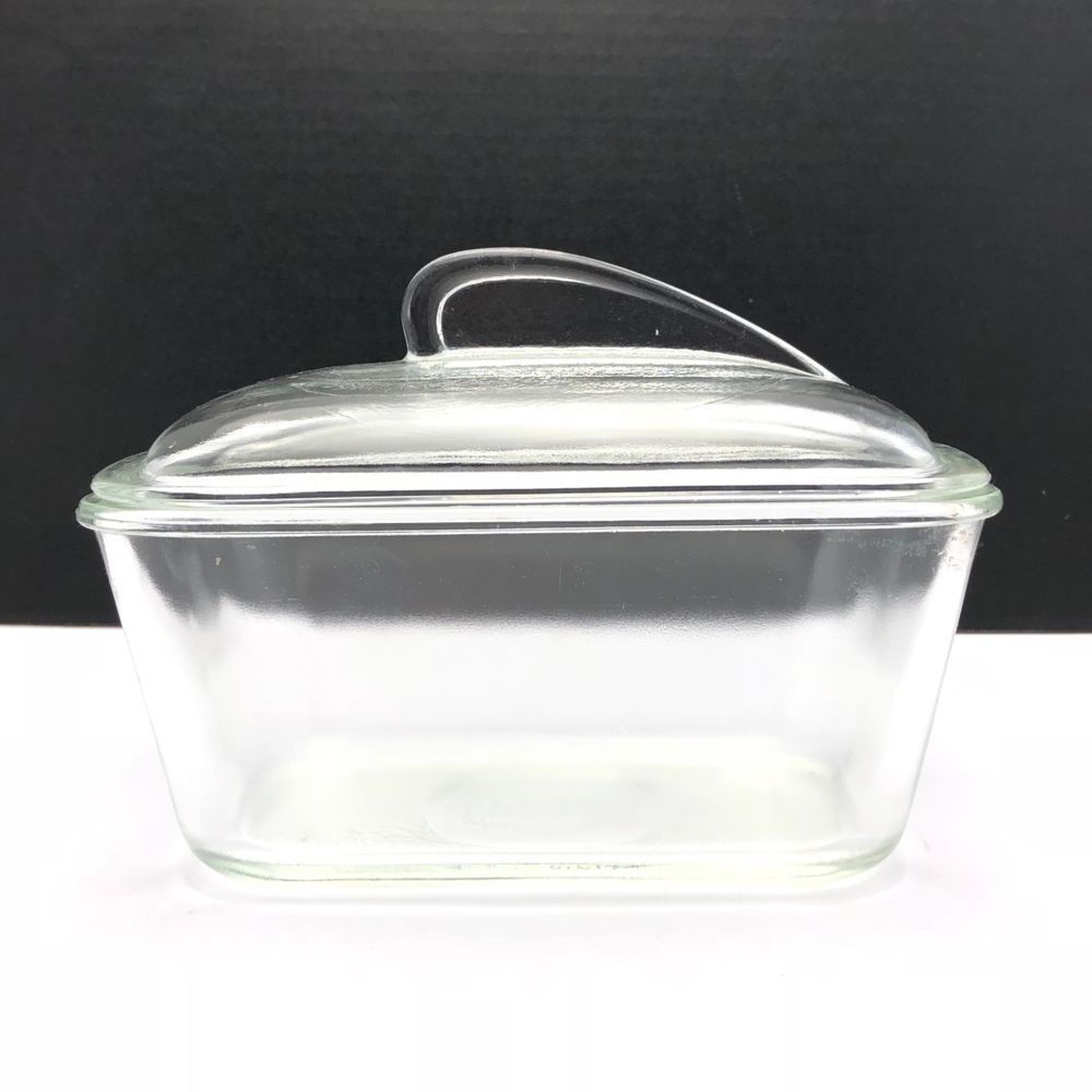 Vintage Glasbake Bread Pan Clear Glass With Art Deco Lid J 805 5