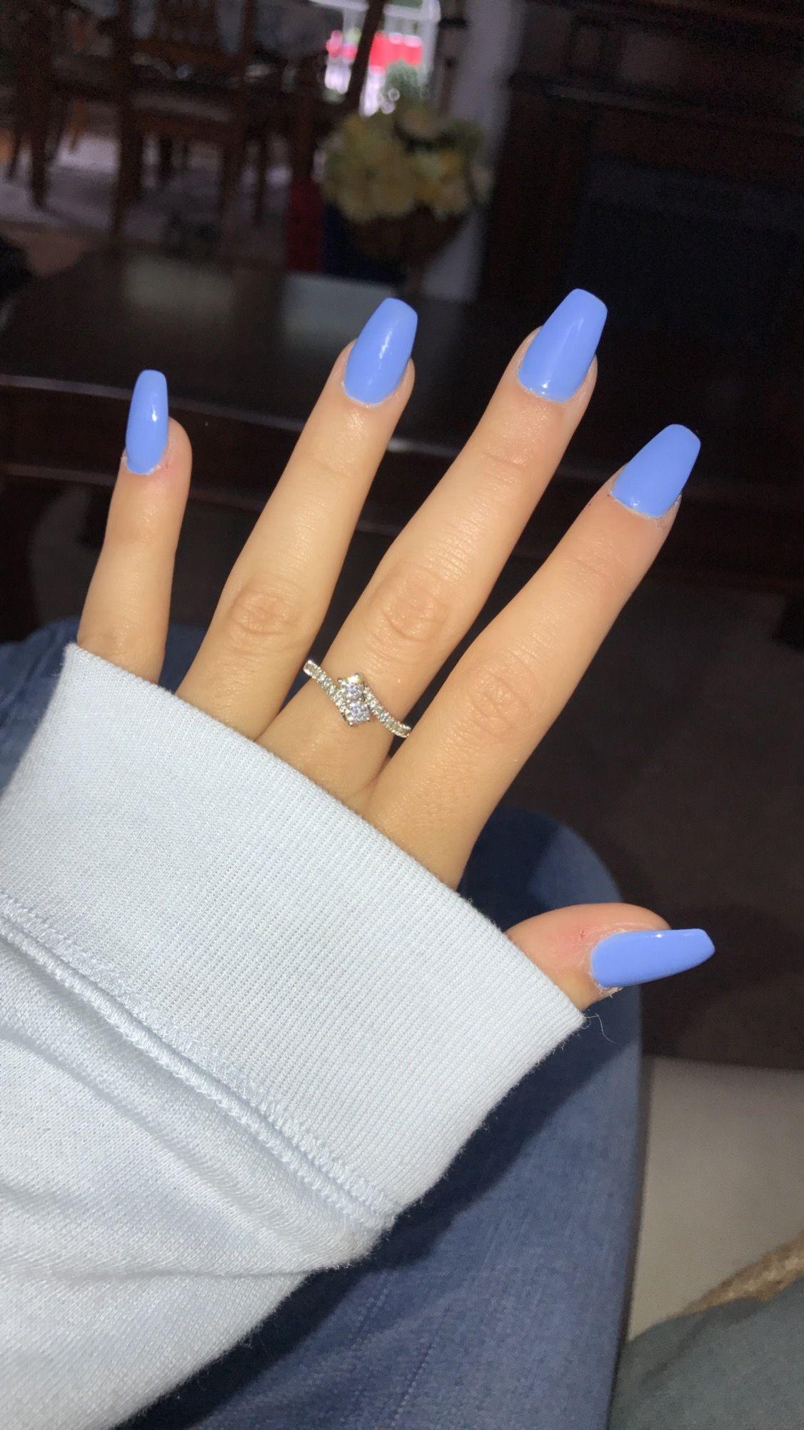 Blue Coffin Ballerina Shaped Acrylic Nails Acrylic Nails Coffin Short Coffin Shape Nails Short Acrylic Nails