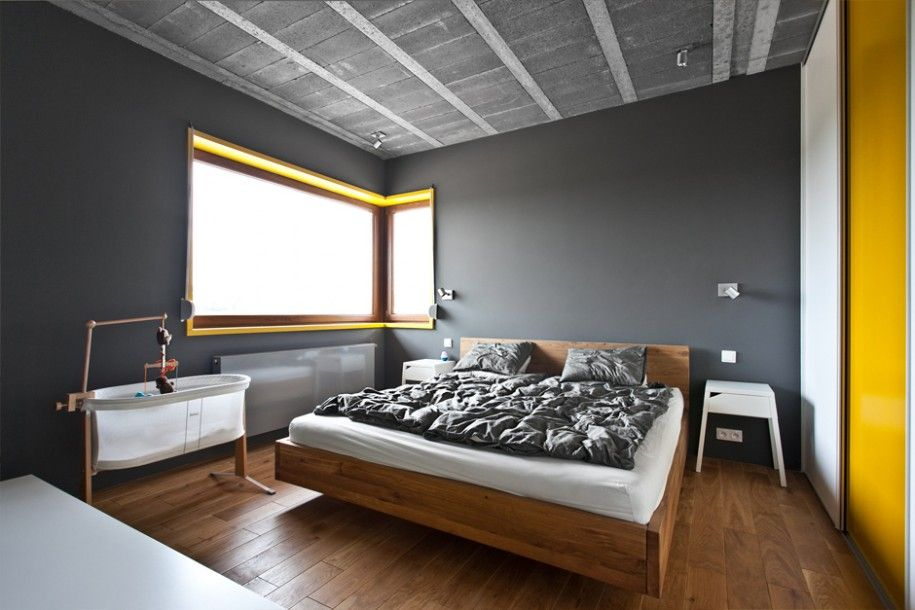 Grey Wall Bedroom contemporary bedroom design with grey wall and minor yellow