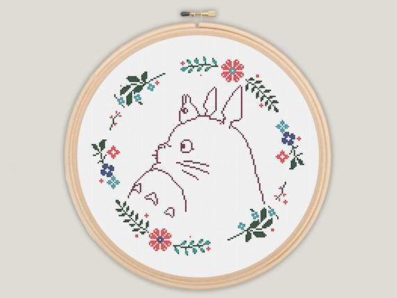 Flower Wreath My Neighbour Totoro – Ghibli Cross Stitch – PATTERN