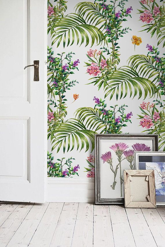 Tropical Leaf Peel And Stick Wallpaper Palm Leaf Etsy Wallpaper Tropical Leaves Tree Wallpaper Mural