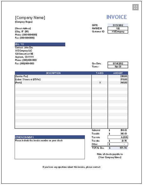 Free Small Business Labor Invoices – Sample of Invoice Template