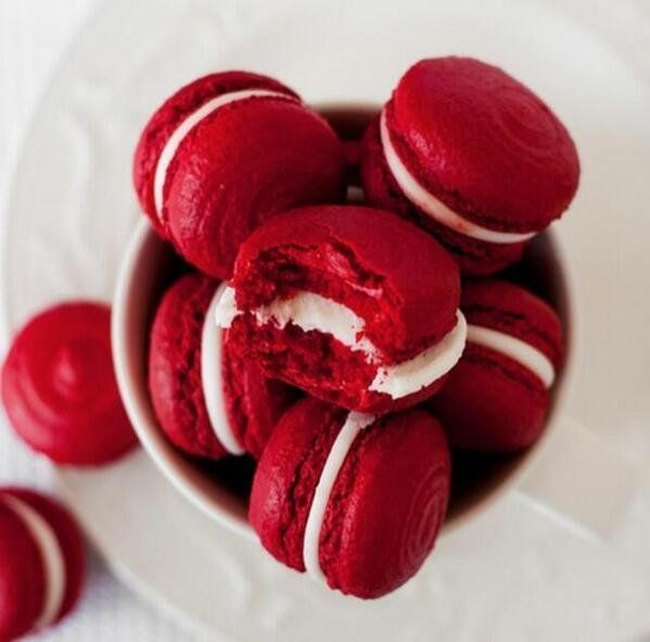Red velvet macarons.