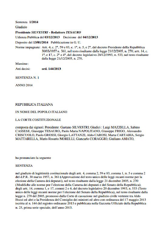Onewstar: Bocciatura del Porcellum, ecco le motivazioni della Consulta