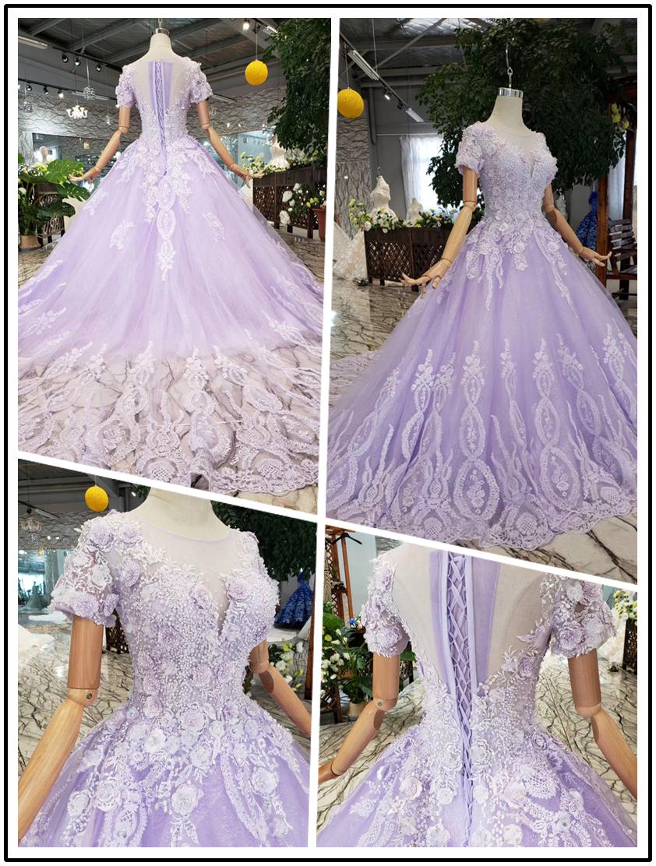 Light Purple Lace Middle Waist Short Sleeve Long Tail Wedding Dress Ostty Wedding Dresses Purple Wedding Dress Dresses [ 1112 x 842 Pixel ]